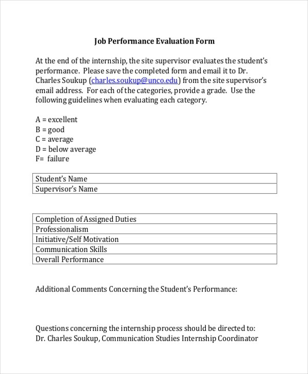 Sample Job Performance Evaluation Forms - 10+ Free Documents in Word