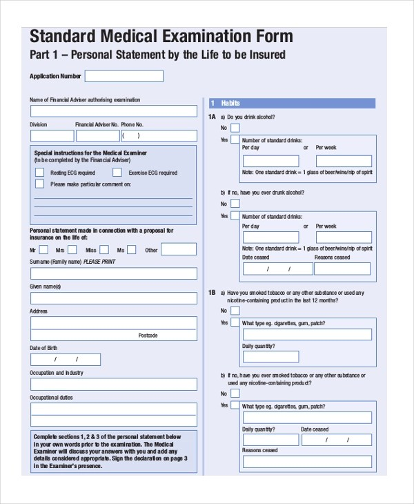 Sample Medical Examination Form - 9+ Free Documents in PDF - free medical form