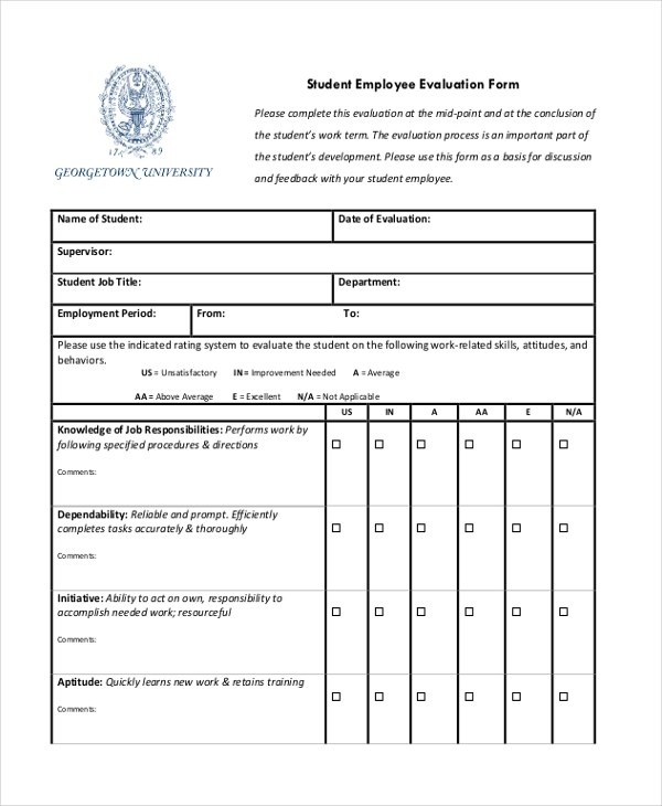Employee Evaluation Sample Forms