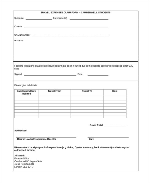 travel claim form sample hgvi