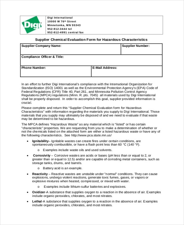 Sample Supplier Evaluation Form - 10+ Free Documents in Word, PDF - evaluation form in word