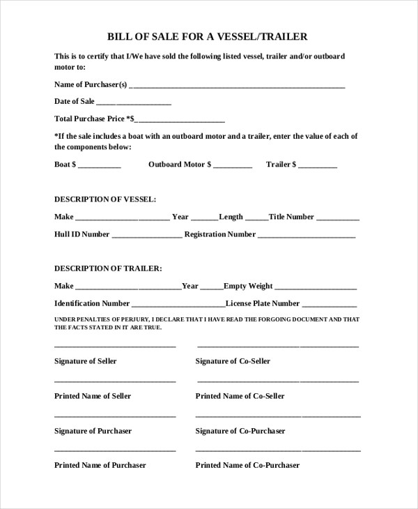 Sample Bill of Sale Forms - 22+ Free Documents in Word, PDF - boat bill of sale template