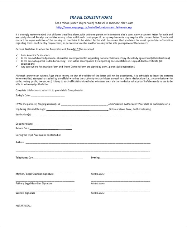 Child Travel Consent Form  NodeCvresumePaasproviderCom