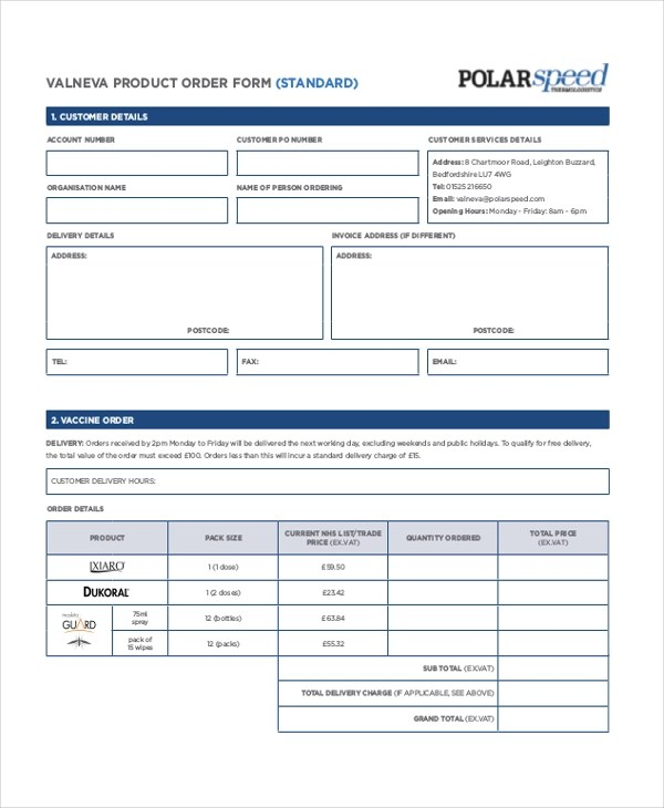Sample Product Order Form - 11+ Free Documents in PDF