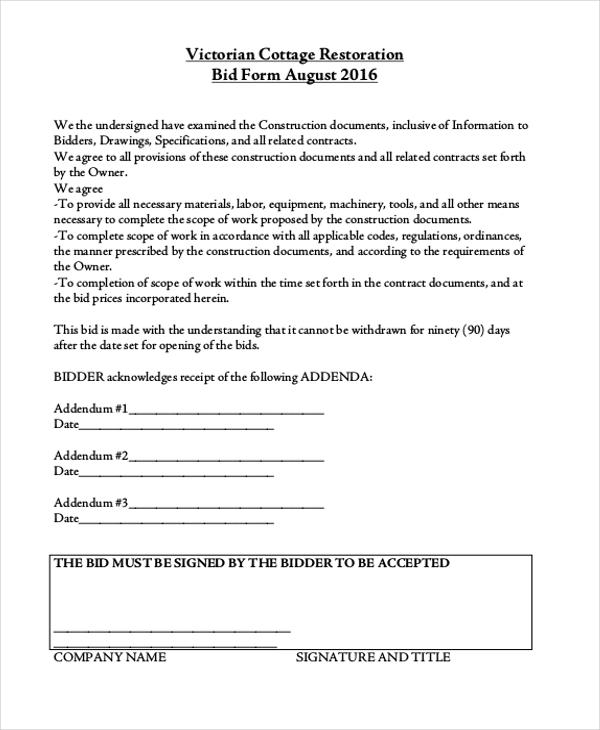 bids for construction - Josemulinohouse - sealed bid form template