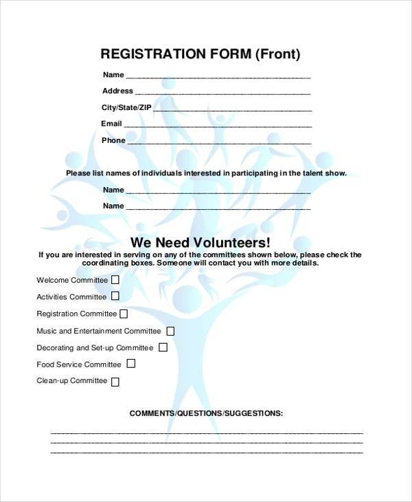 Sample Family Reunion Registration Form - 8+ Free Documents in Word, PDF