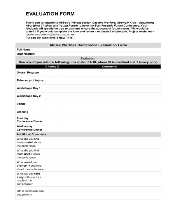 Conference Evaluation Form In Word Orientation Feedback Form - how to create evaluation form
