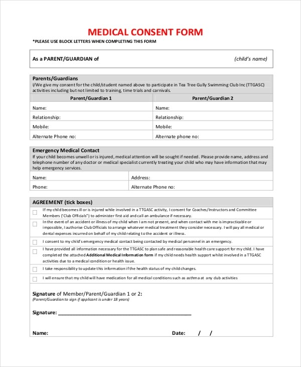Sample Consent Form - 26+ Free Documents in Word, PDF - medical consent forms