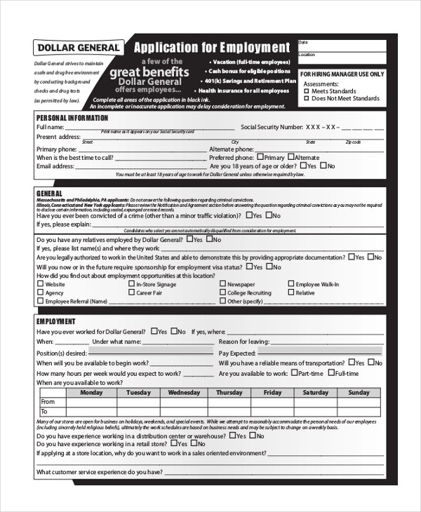 General Application Form Printable Job Applications Formal - Dollar Tree Application Form