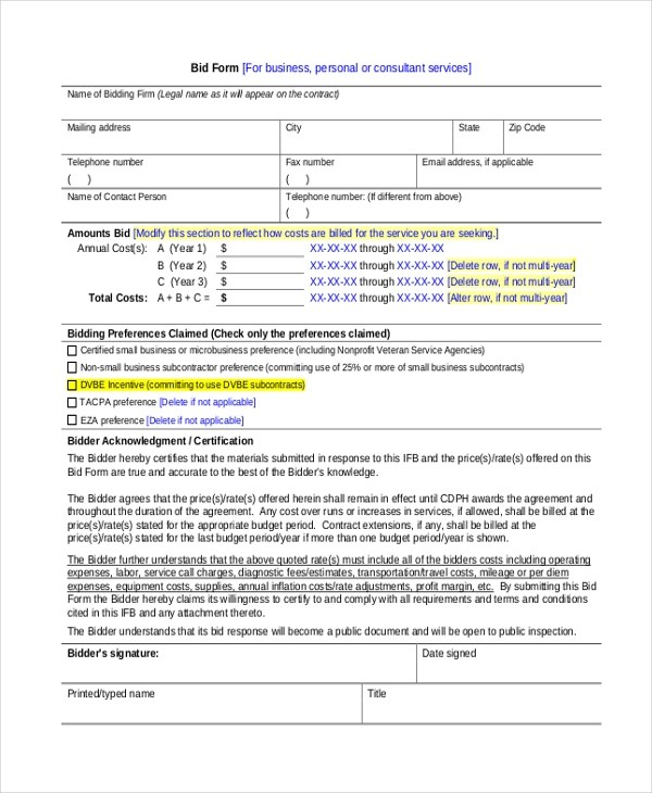bidding forms - Alannoscrapleftbehind