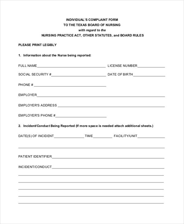 ... Patient Incident Report Form Templatebillybullock U2013 Sample Patient  Complaint Form ...