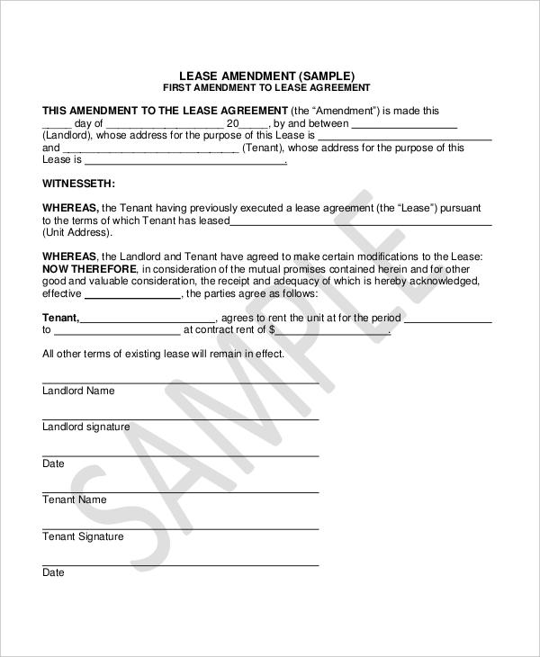 Lease Amendment Form - 10+ Free Documents in PDF, Doc - contract amendment template