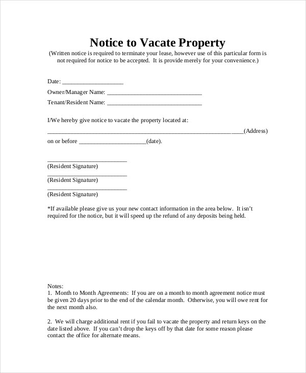 Notice to Vacate Form - 9+ Free Documents in PDF, Doc - notice to vacate template