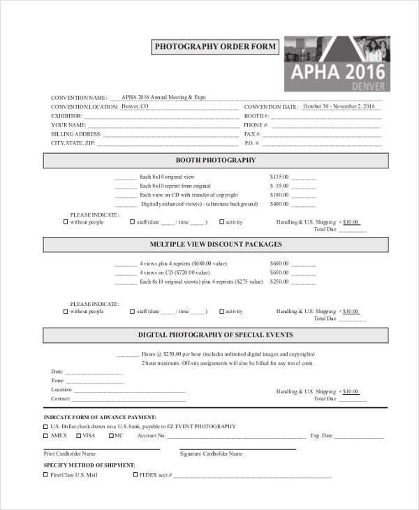 Sample Photography Order Form - 10+ Free Documents in PDF - photography order form