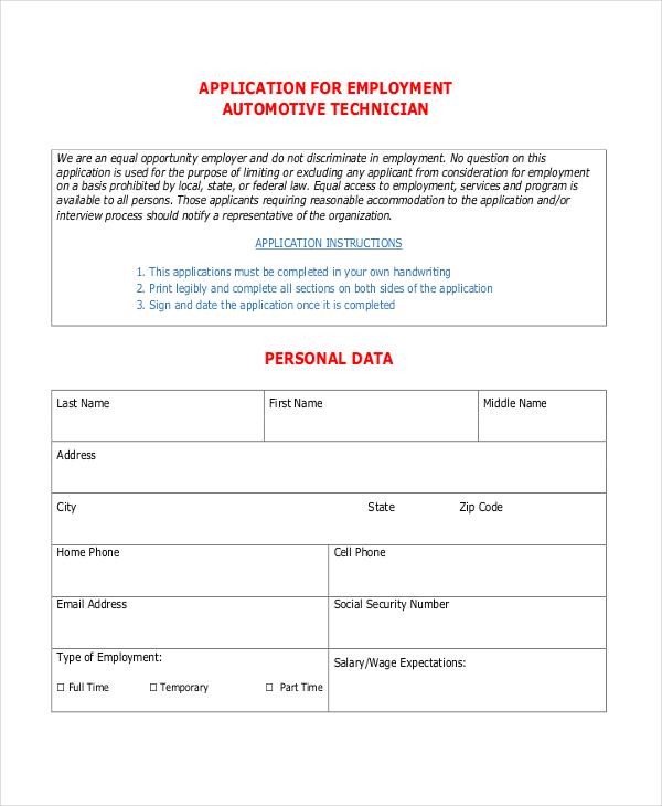Employment Application Template Bio ExampleApplication For - printable application for mployment