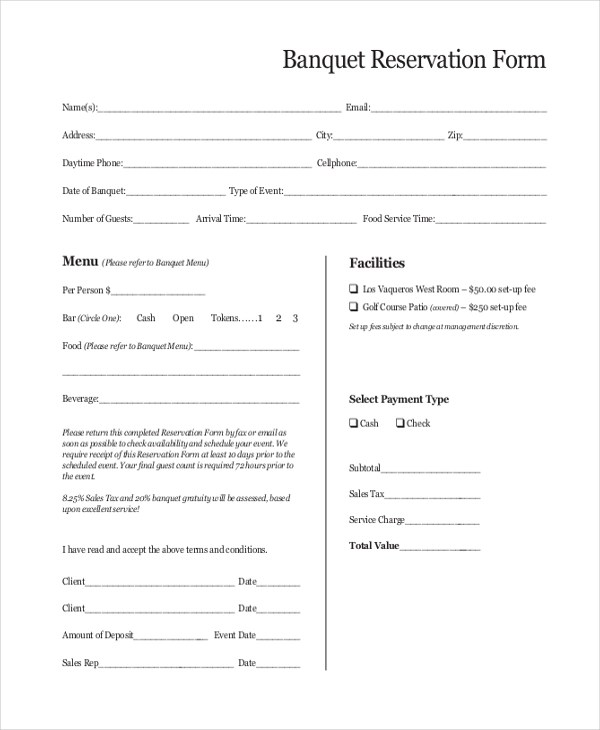 Sample Reservation Form - 20+ Free Documents in PDF - free reservation forms