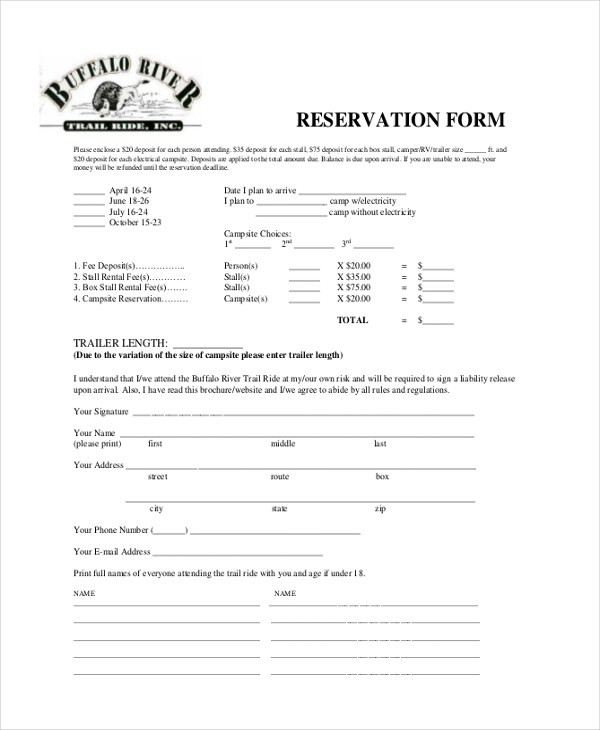 Reservation Forms In Pdf oakandale