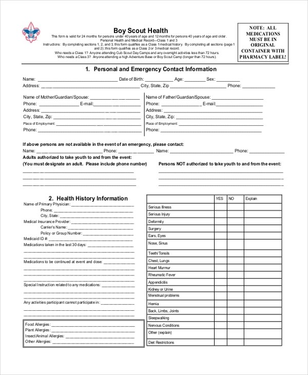 Sample Scout Health Form - 8+ Free Documents in PDF - boy scout medical form