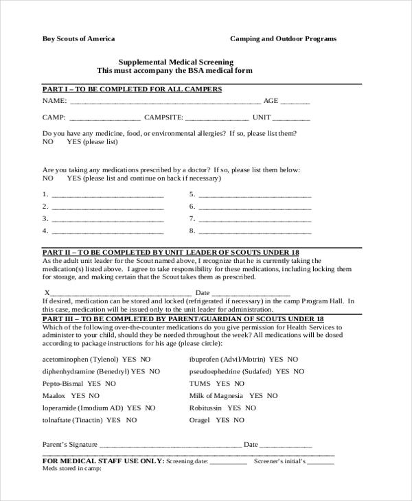 Medical Form medical history and registration form hobsonville - bsa medical form