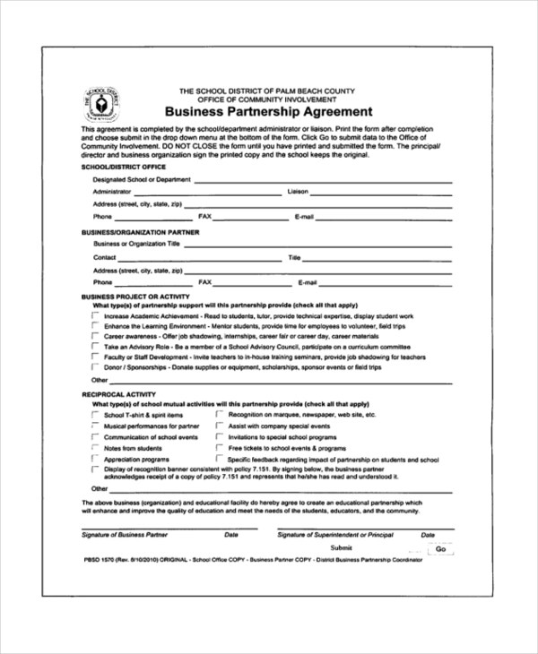 free partnership agreement form - Goalgoodwinmetals - Free Partnership Agreement Form
