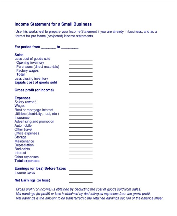 Sample Income Statement form - 14+ Free documents in word, PDF - business profit and loss statement form