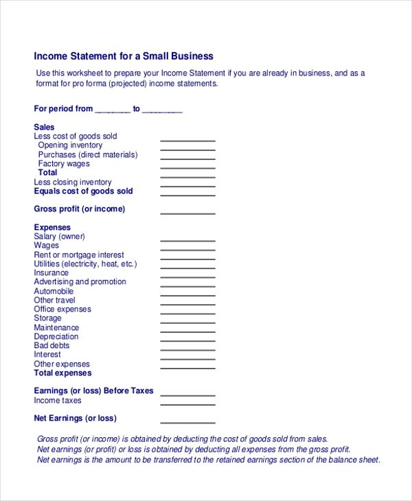 small business financial statement template