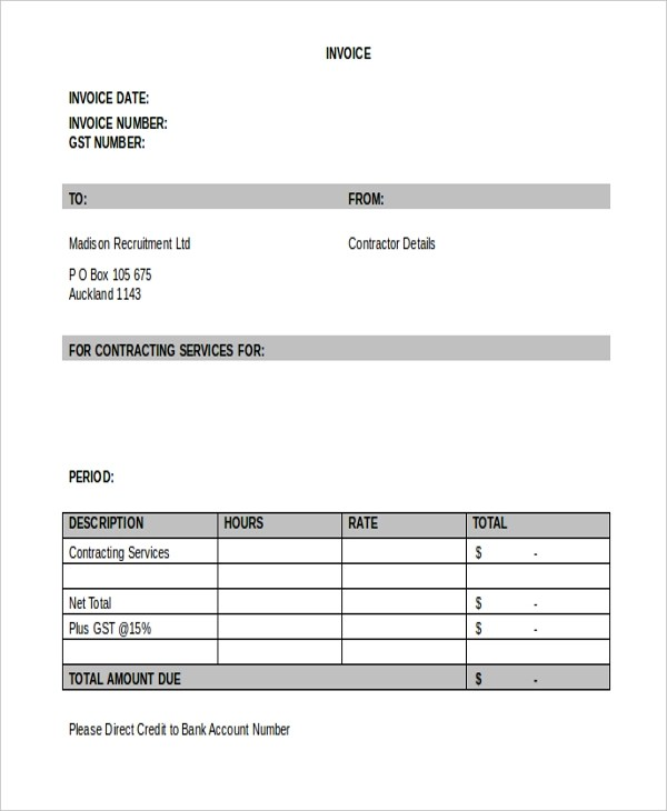Sample Contractor Invoice Form - 9+ Free Documents in Word, PDF - contractors invoice template
