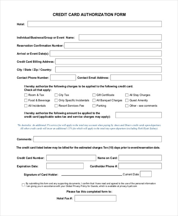 Sample Authorization Forms - 16+ Free Documents in Word, PDF - authorization to use credit card