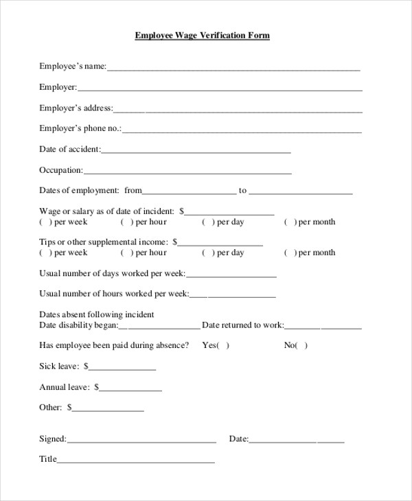 Sample Wage Verification Form - 9+ Free Documents In - blank employment verification form