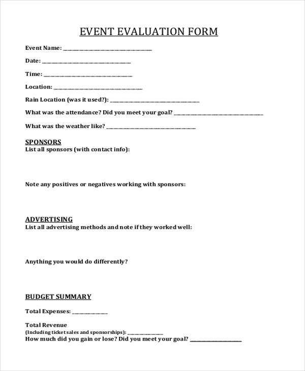 Sample Event Form - 21+ Free Documents in PDF, Doc