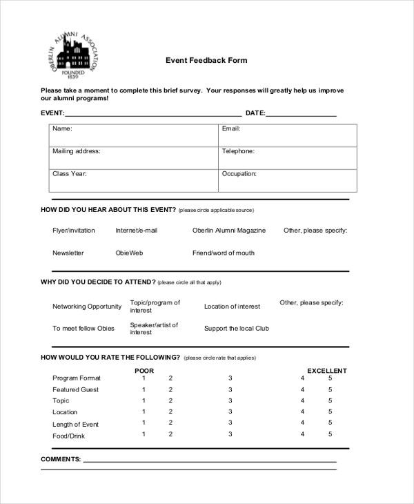 Sample Event Form - 21+ Free Documents in PDF, Doc - event feedback form in pdf