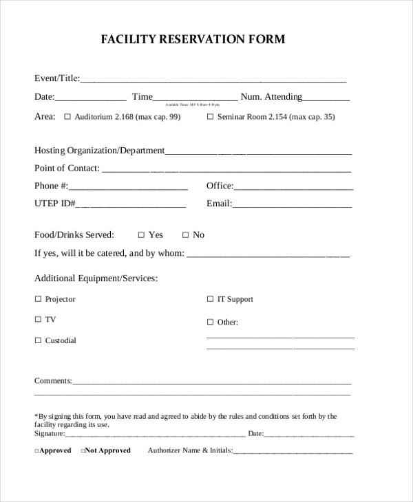 Free Reservation Forms Sample Facility Reservation Form Sample