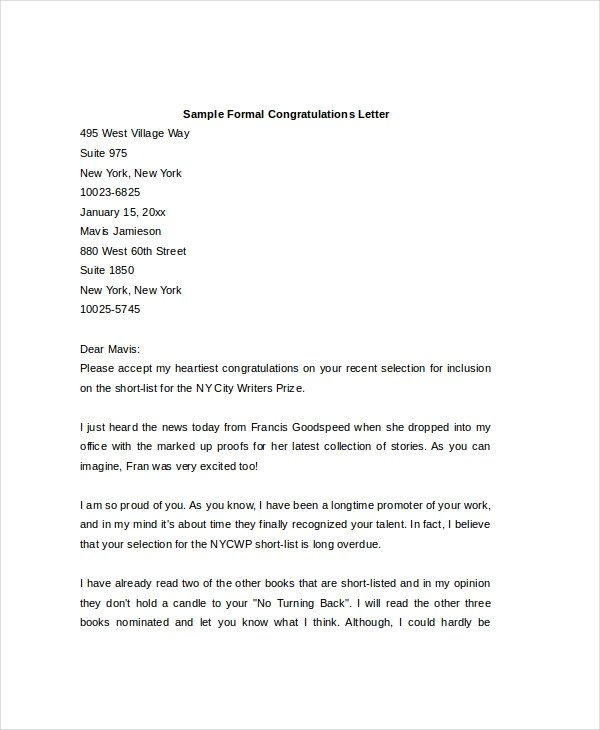Sample Formal Letter - 13+ Free Documents in PDF, Doc - congratulations letter
