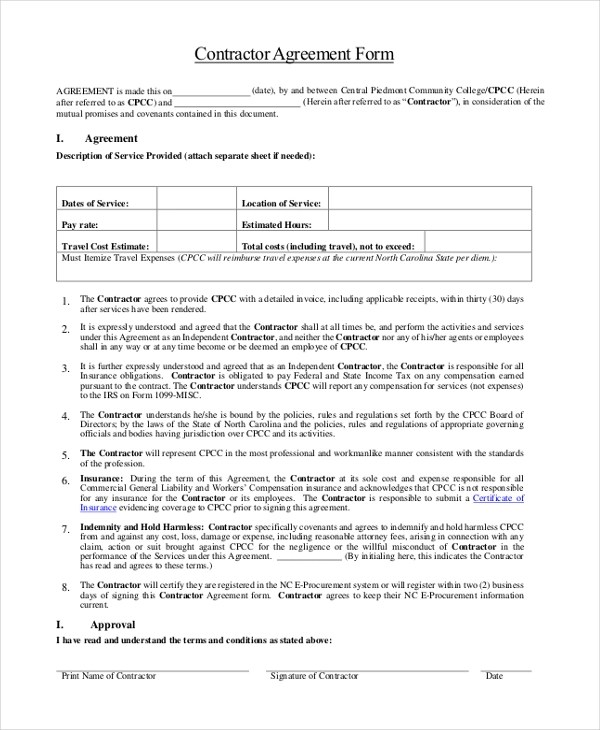 Sample Contractor Agreement Form - 9+ Free Documents in Word, PDF - independent contractor agreement form