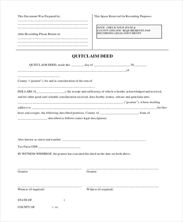 Sample Quit Claim Deed Form - 8+ Free Documents in Word, PDF