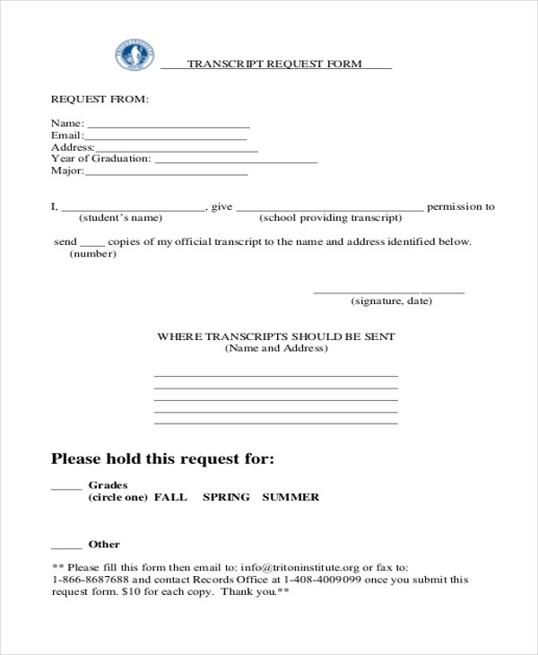 Sample Transcript Request Form - 8+ Free Documents in PDF