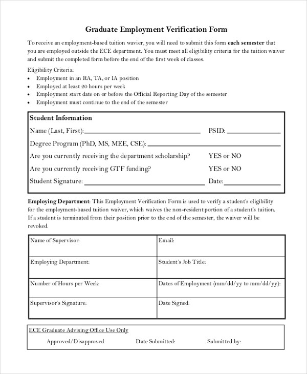 Sample Employment Verification Form - 13+ Free Documents in PDF