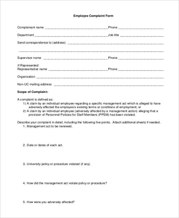 Sample HR Complaint Form - 10+ Free Documents in Word, PDF