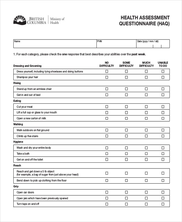 Sample Health Assessment Template Physical Assessment Form - sample health assessment