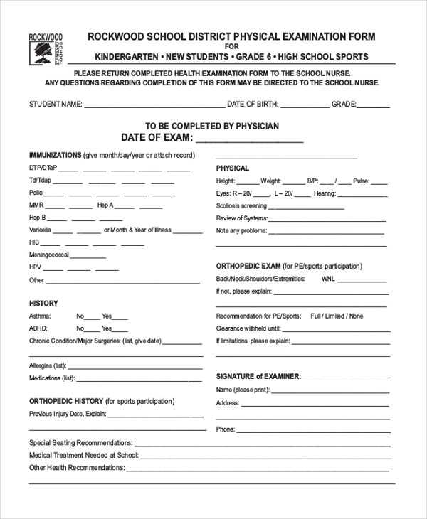 Sample Health Examination Form - 9+ Free Documents in PDF - physical exam form