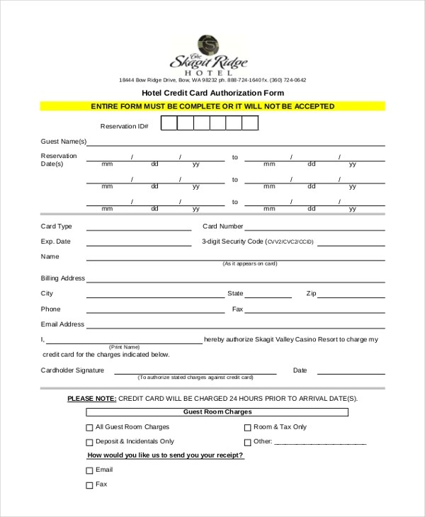Sample Credit Card Authorization Form - 12+ Free Documents in Word, PDF - fax authorization form