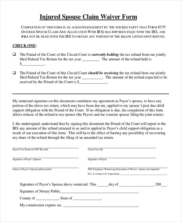 Sample Injured Spouse Form - 9+ Free Documents in PDF - injured spouse form