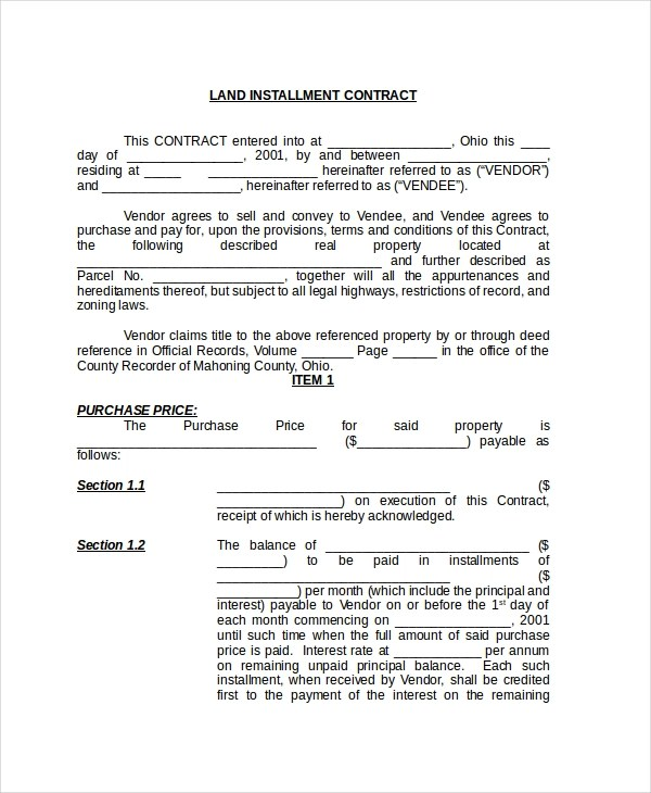 Sample Land Contract Form - 8+ Free Documents in PDF, Doc - land contract agreement