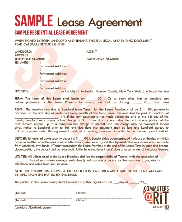 16+ Sample Lease Agreement Forms - Sample, Example, Format - lease agreements sample