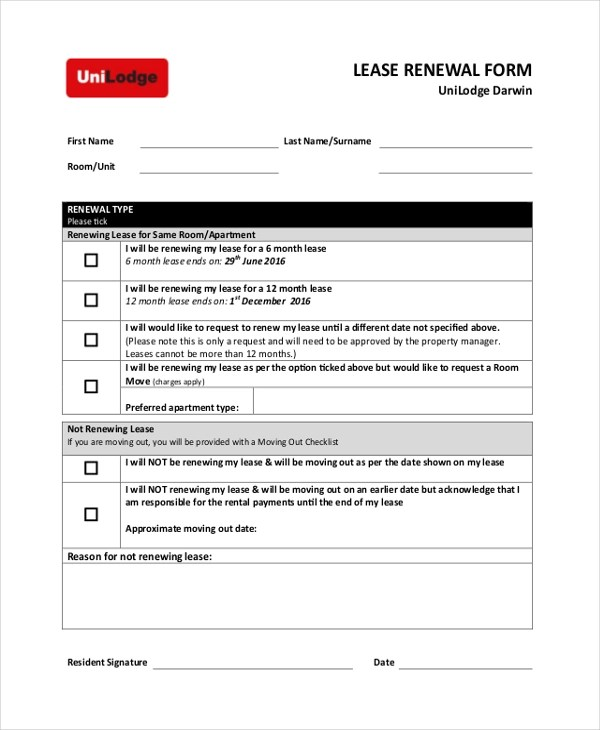 Sample Lease Form - 21+ Free Documents in PDF - lease renewal form