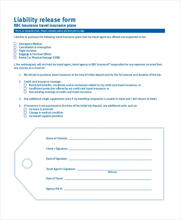 Sample Liability Form - 8+ Free Documents in PDF - liability release form template free