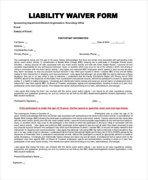 liability form - Deanroutechoice - liability waiver template word