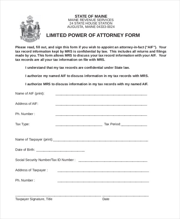 Sample Power of Attorney Form - 20+ Free Documents in Word, PDF - sample limited power of attorney form