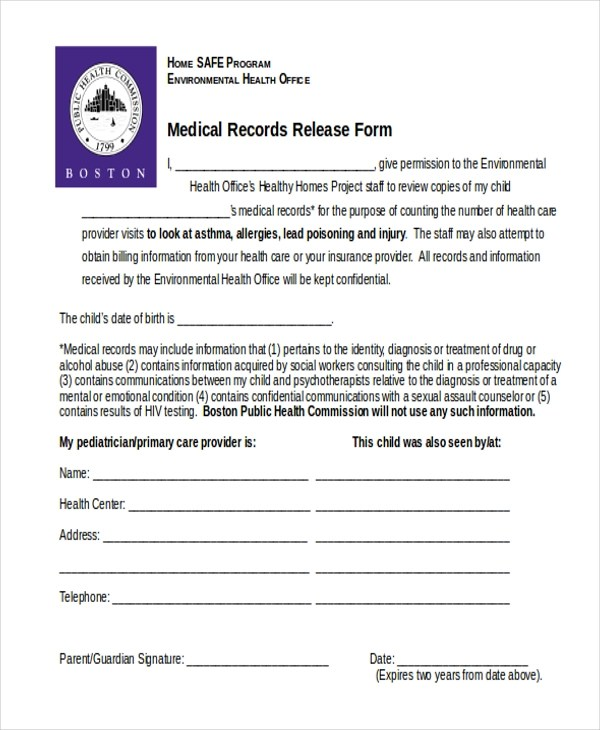Sample Medical Release Form - 11+ Free Documents in word, PDF - medical records release forms