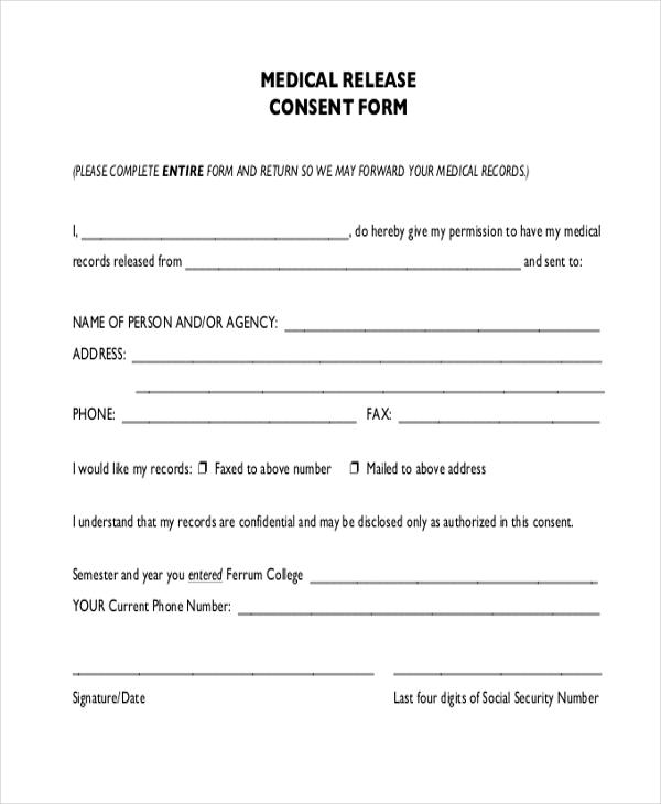 blank medical records release form sample medical release form 11
